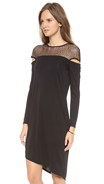 DKNY Asymmetrical Crew Neck Dress