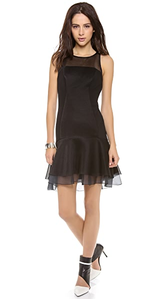 DKNY Flounce Dress with Organza Hem