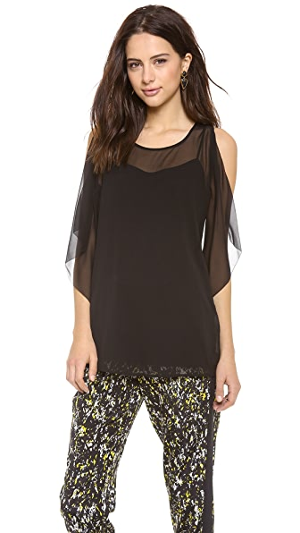 DKNY Flutter Side Sleeveless Top