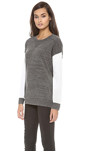 DKNY Long Sleeve Crew Neck Colorblock Pullover