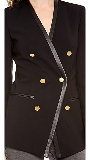 DKNY Collarless Jacket with Leather Trim