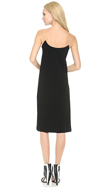 DKNY V Neck Illusion Dress