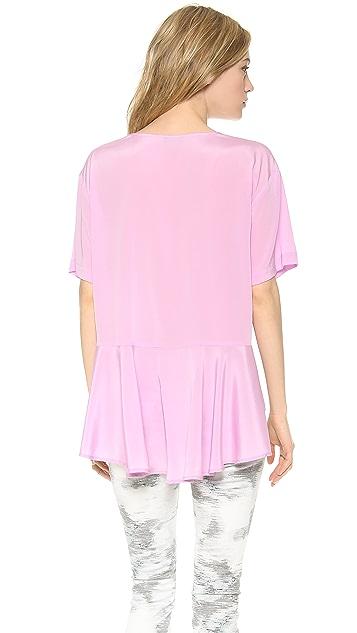 DKNY Short Sleeve Blouse with Peplum Back