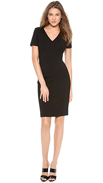 DKNY Cross Front V Neck Sheath Dress