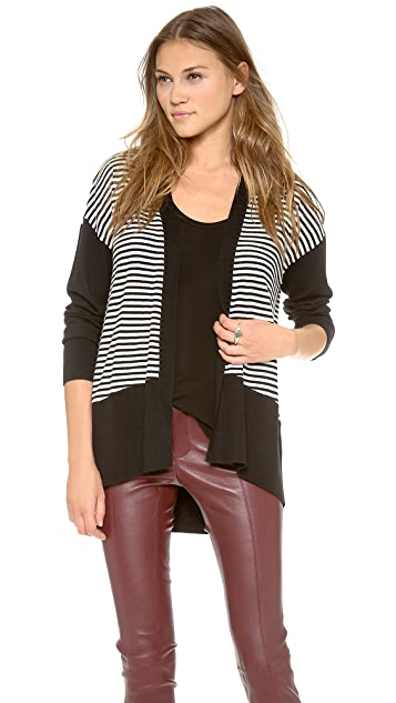 DKNY Striped Long Sleeve Cardigan