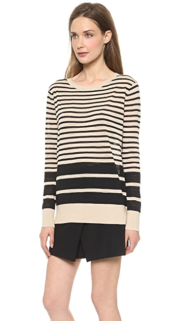 DKNY Striped Long Sleeve Pullover