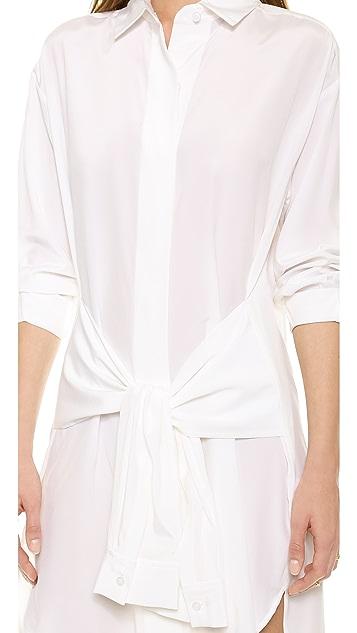 DKNY Button Thru Dress with Ties