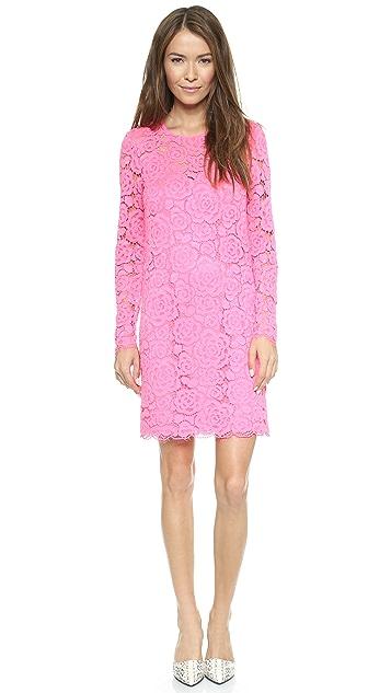 DKNY Long Sleeve Shift Dress with Scalloped Hem