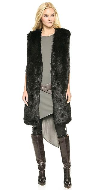 DKNY Faux Fur Collarless Long Vest