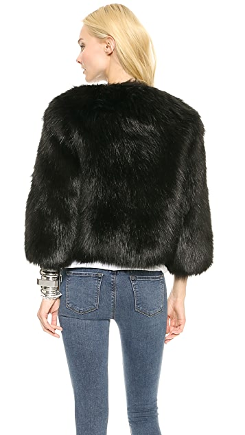 DKNY Faux Fur Cropped Collarless Jacket