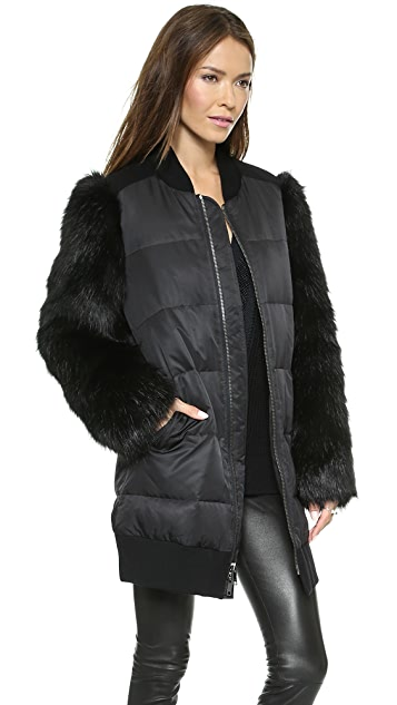 DKNY Zip Front Puffer Jacket with Faux Fur Sleeves