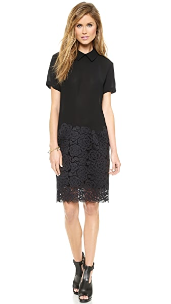 DKNY Short Sleeve Dress with Collar