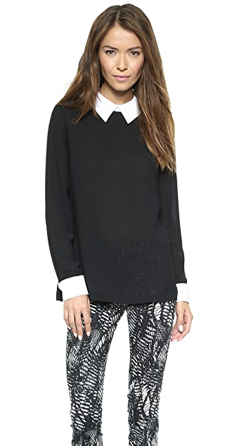 DKNY Long Sleeve Blouse with Contrast Collar & Cuffs
