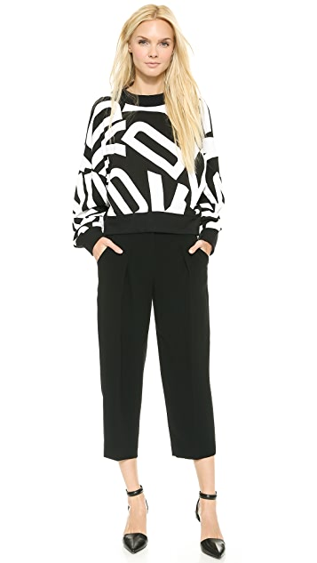 DKNY Oversized Cropped Extra Long Sleeve Pullover