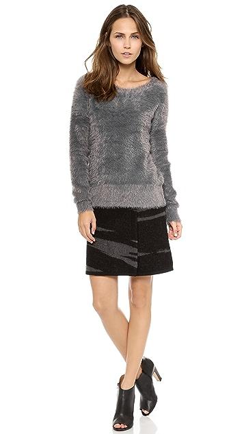 DKNY Boiled Wool Miniskirt