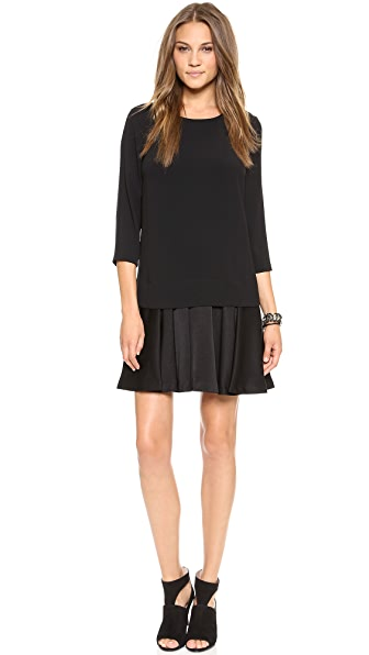 DKNY 3/4 Sleeve Drop Waist Dress