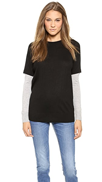 DKNY Pullover with Contrast Sleeves