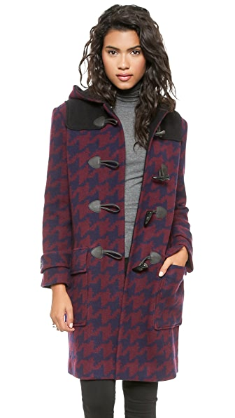 DKNY Hooded Coat with Leather Trim