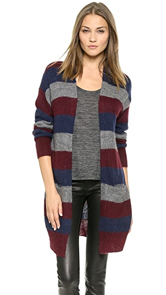 DKNY Striped Drop Shoulder Cardigan
