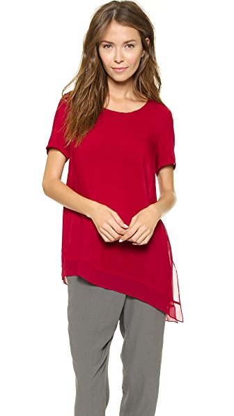 DKNY Pure DKNY Boat Neck Asymmetrical Blouse