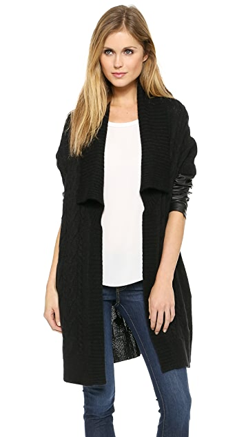 DKNY Pure DKNY Cardigan with Leather Sleeves