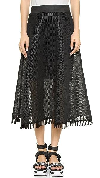 Dkny Full Midi Skirt With Eyelet Trim - Black