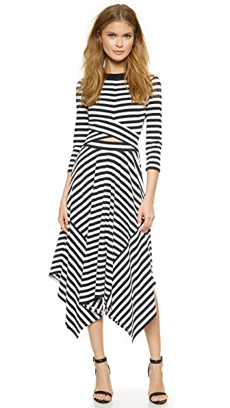 Shop DKNY online and buy Dkny 3/4 Sleeve Cutout Dress Black/White dress online