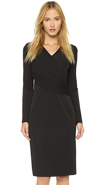 Kupi DKNY online i prodaja Dkny Long Sleeve Low V Neck Wrap Dress Black haljinu online