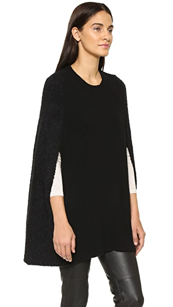 DKNY Cape with Ribbed Front & Boucle Back