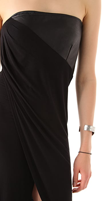 David Lerner Strapless Asymmetrical Dress