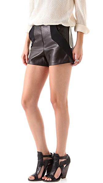 David Lerner Leather Contrast Panel Shorts