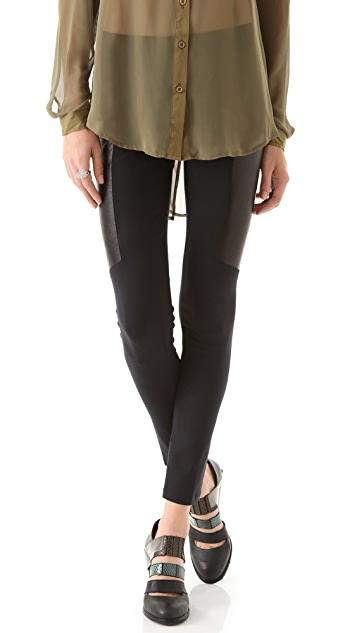 David Lerner Leather Trim Leggings