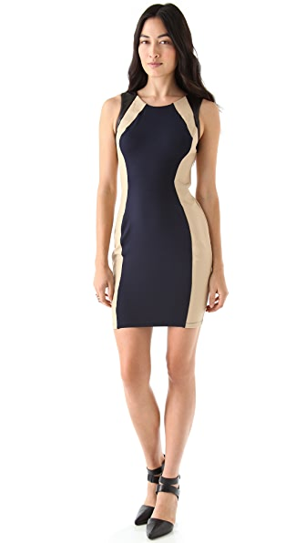 David Lerner Colorblock Leather Mini Dress