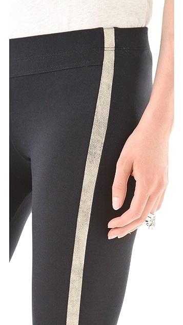 David Lerner Leather Stripe Leggings with Split Ankles