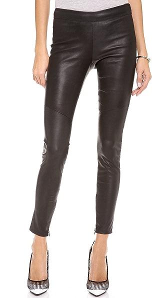 David Lerner Clean Side Zip Leather Leggings