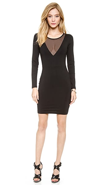 David Lerner Low V Neck Dress with Mesh