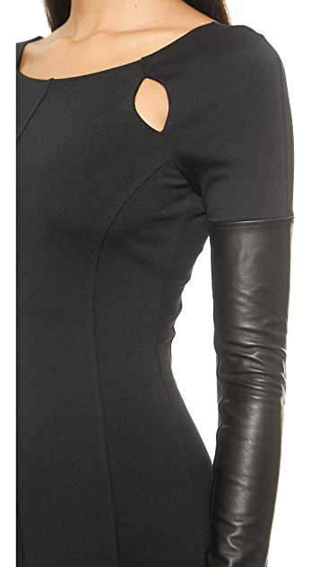 David Lerner Cutout Dress with Leather Sleeves