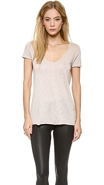 David Lerner Raw Edge Binding Scoop Tee