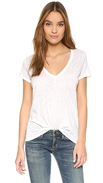 David Lerner Super Deep V Neck Tee - White