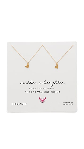 Dogeared Mother & Daughter Little Heart Charm Necklace Set