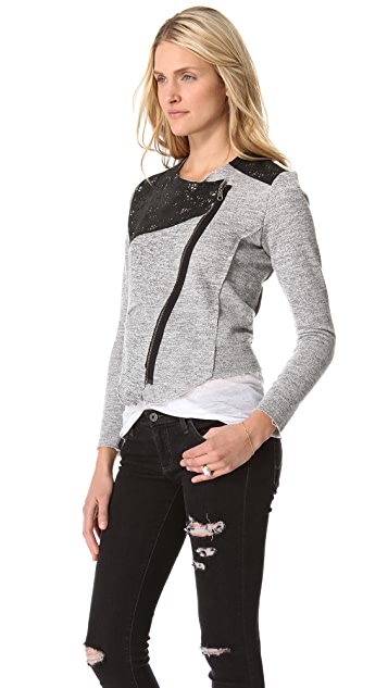Dolan Crop Jacket with Leather Trim