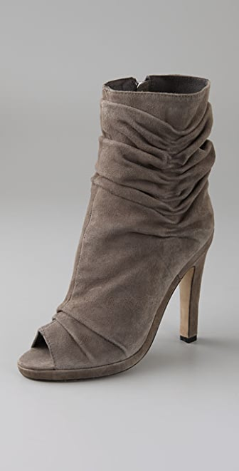 Dolce Vita Viva Draped Suede Booties with Open Toe
