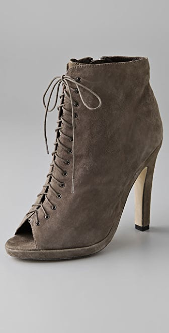 Dolce Vita Violet Lace Up Suede Booties with Open Toe