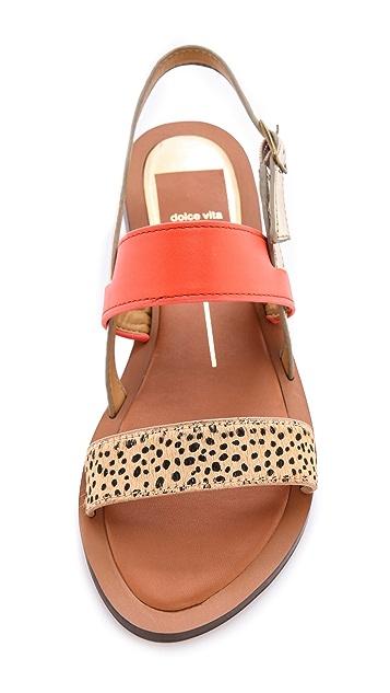 Dolce Vita Fabrica Fur Trimmed Sandals