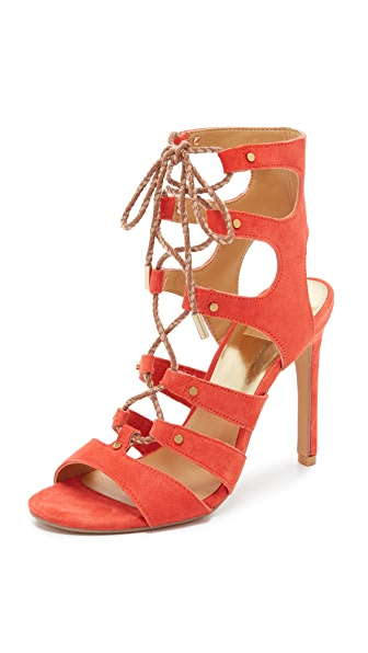 Dolce Vita Howie Lace Up Sandals - Red Orange