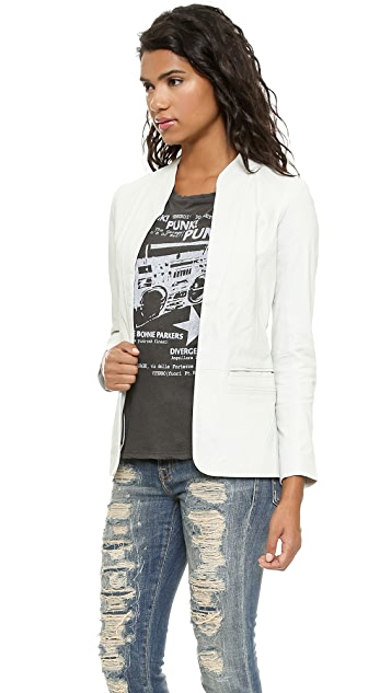 Doma Leather Blazer with Detachable Hood