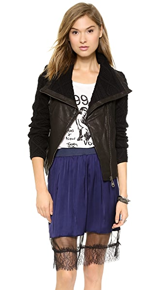 Doma Irregular Leather Moto Jacket