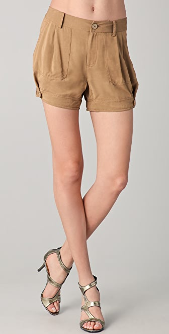 Donna Karan Casual Luxe Pleated Shorts with Tabs