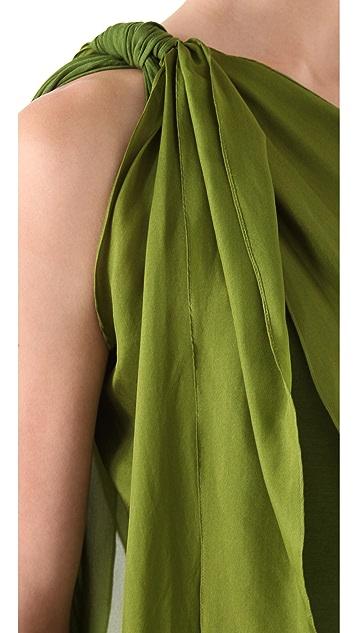 Donna Karan Casual Luxe One Shoulder Drape Scarf Tunic