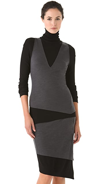 Donna Karan Casual Luxe Two Tone Turtleneck